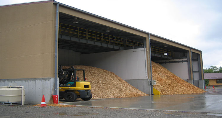 the warehouse of a wood pellet plant