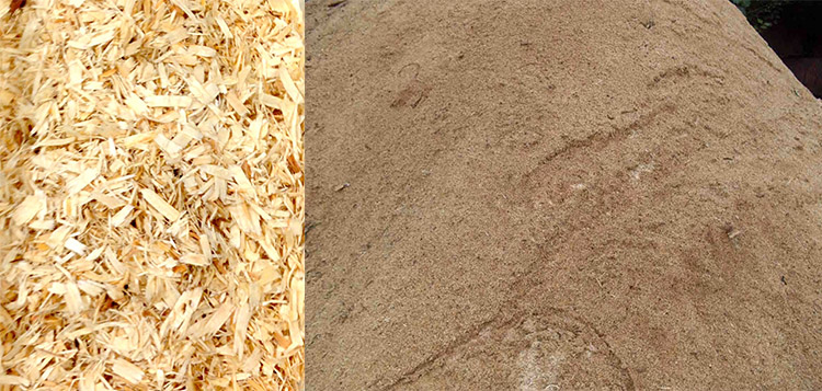 a picture of wood shavings after grinding
