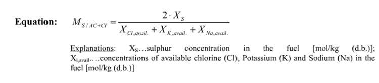 a picture of the molar ratio equation of sulphur in biomass pellet
