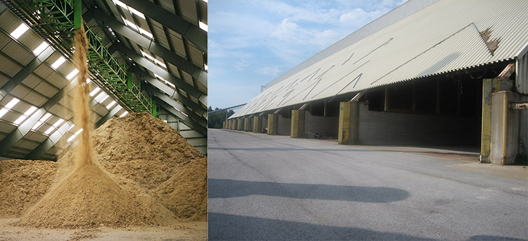 a picture of the storage warehouse of a pellet plant
