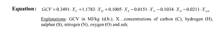 a picture of the gross calorific value equation for biomass pellet