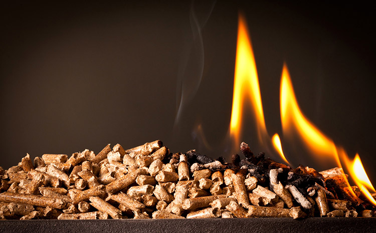 a picture of burning biomass pellet