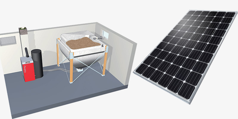 a picture of wood pellet energy supply system and solar photovoltaic cell