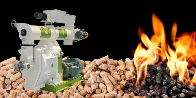 ring die pellet machine and pellet burning