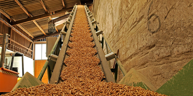 a picture of wood pellet production process