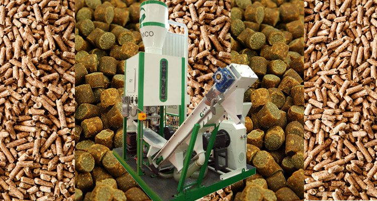 Gemco mobile pellet plant with wood pellets and feed pellets