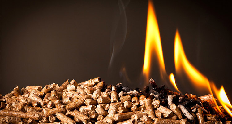 a picture of firing wood pellets